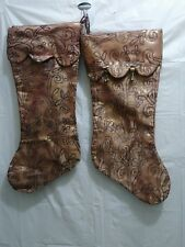 2 Christmas Stockings Gold Lame Beaded Embroidered Bells 18 x 8 1/2