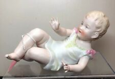 """7.5"""" Long Antique Germany Bisque Doll Piano Baby #342 Adorable Blonde #SA"""