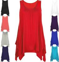 Womens Ladies Asymmetric Hanky Hem Vest Top Swing Gathered Tunic Flared Loose
