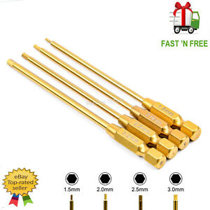 RC SPEED HEX TIPS METRIC TOOL POWER TOOL BITS HEX DRIVERS ALLEN KEY 4PC 1/4 INCH