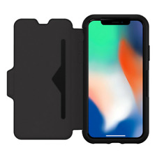 OTTERBOX Strada Series Black Rugged Leather Flip Case for Apple iPhone X 10