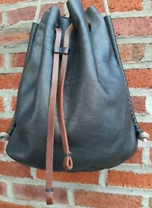 BOHO URBAN Design in PREMIUM Crafted LEATHER Elevated Black Bucket SACK Large