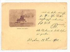 DD263 1901 Argentina EARLY BATTLESHIP Vignette Card Switzerland{samwells-covers}