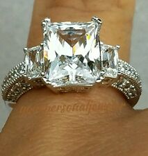 4 carat 14k white Gold 3 stone Emerald Cut man made diamond Engagement Ring S 7