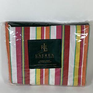 Ralph Lauren Beachside Stripe Red Cotton FULL Deep Fitted Sheet, 350 Thread Ct