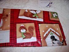 NEW 52 X 70 Winter Animals Friends TABLECLOTH Fox Birds Deer BUFFALO PLAID