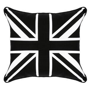 "Union Jack Cushion Cover | Black & White | 18"" x 18"" | 45x45cm | Zipped | Piped"
