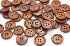 Brown Wood Buttons Four Holes Raised Edge Sweater Coat Natural Wooden 20mm 20pcs