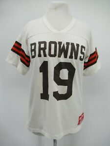 M9839 VTG Rawlings NFL Cleveland Browns #19 Jersey T-Shirt Made In USA Size M