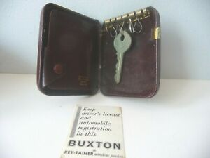 Vintage Buxton Hard Case Key Tainer Brown Leather  Ring W Original Inserts