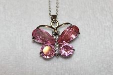"Necklace 18K Gold Plated 18"" Pink Crystal Rhinestone Butterfly Pendant Charm"