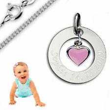 Taufkette, Kinderkette, Gravur Platte mit Herz pink ,Silber 925- pers. Gravur