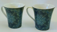 222 Fifth Agustina Opulent Blue Floral Lace Porcelain Coffee Mug Cup Set of 2