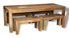 DAKOTA LIGHT SOLID MANGO 220CM DINING TABLE AND 4 SMALL BENCHES (16L&461L)