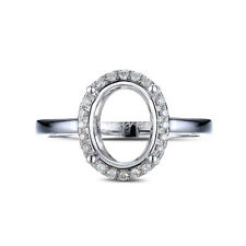 8x10mm Oval Cut Solid 18K White Gold 0.17CT Natural Diamond Semi Mount Ring