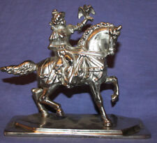 Vintage metal statuette horse rider hunter with hawk