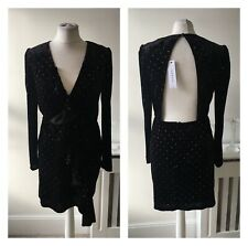 Black Velvet Rainbow Spotty Frill Cut out Gathered Sheath Mini Dress Sz 10 P