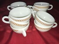 "11 Vintage PYREX CORNING Coffee MUG Tea Cup TABLEWARE REGENCY ""S"" Copper SCROLL"