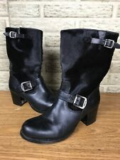 Frye Vera Short Engineer Boots Heels Black CALF HAIR Sz 8 B