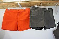 "LOT 2 pair Ann Taylor Signature Shorts sz 6 brown & orange 4.5"" ins flat (1 NEW)"