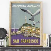 American Airlines San Francisco Tourism retro poster print - various sizes, f...