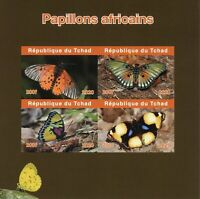 Chad Butterflies Stamps 2020 MNH African Butterfly Insects Fauna 4v IMPF M/S
