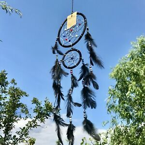New Black Feather Double Dream Catcher Native American Hanging Mobile Ref 104