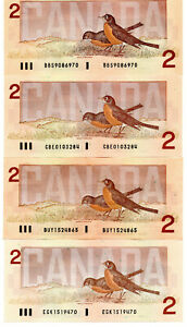 Bank of Canada 1986 Lot of 4 Notes UNC BBS CBE BUY EGK