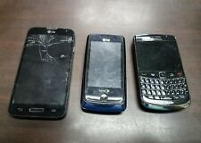 Lot of 3 phones, parts only, non working. blackberry, lg. various carriers
