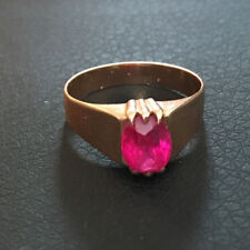 Vintage retro 14k 583 rose gold ring with ruby stone 1960s Russia USSR size 8