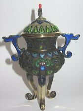 ANTIQUE CHINESE SOLID SILVER GILT GOLD ENAMEL AND CORAL CENSER INCENSE BURNER