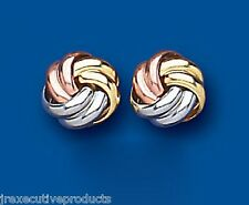 Knot earrings Three Colour Gold Knot Stud Earrings Knot Studs 8mm