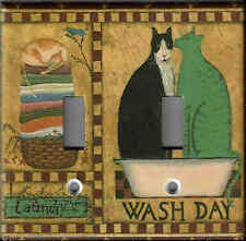 LAUNDRY CATS LAUNDRY ROOM HOME WALL DECOR DOUBLE LIGHT SWITCH PLATE