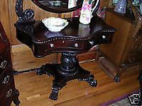 antique empire flame mahogany vanity dresser carved!!!!