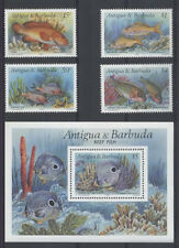 POISSON Antigua 4 val 1 bloc de 1990 ** FISH FISCH PESCE