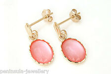 9ct Gold Pink Mother of Pearl Drop earrings Gift Boxed Made in UK