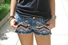 Zara Blogger Jeans Ethnisch Pailletten Perlen Shorts Größe UK6/EUR34/US2