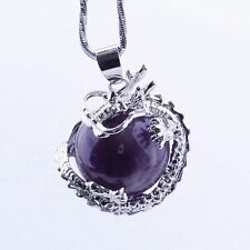 1PC Bling Dragon Amethyst Pendulum Divination Reiki Healing Dangle Pendant Beads