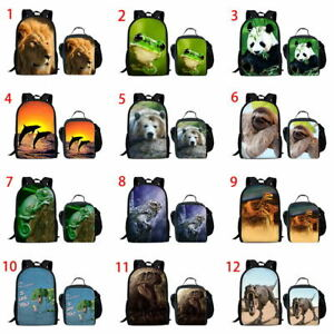 Boys Girls Backpack Sloth Panda Print School Satchel Book Bag Lunch Box Set Gift