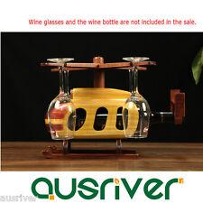 Retro Vintage Wood Helicopter Wine Glass Gadget Bottle Rack Holder XmasGift Deco