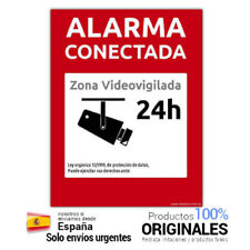 🔥 Cartel rigido PVC Alarma Conectada Zona Videovigilada 24 horas Rojo exterior