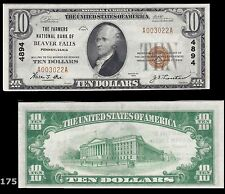 Beaver Falls, PA - $10 1929 Ty. 1 The Farmers NB Ch. # 4894 Extremely Fine NOTE