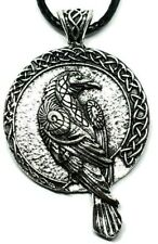 Raven Pendant Norse Viking Odin Raven Celtic Rune Double Sided Cord Necklace