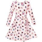 Sunny Fashion Girls Dress Oak Print Light Pink Long Sleeve Princess Size 2-10