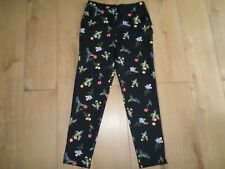 MARKS & SPENCER LIMITED BLACK FLORAL TAPERED LEG TROUSERS WITH STRETCH SIZE 10