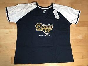 Los Angeles St Louis Rams Women's Majestic NFL V-Neck Logo T-Shirt Plus Size 2X