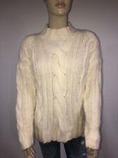 Express Tricot Womens Sweater Cableknit  Angora Blend Size L