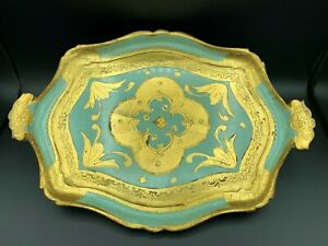 Antique Italian Florentine Wooden Tole Serving Tray Hand Painted Gold Turquoise