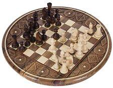 Schach Schachspiel - RUBIN - Schachbrett & Schachfiguren geschnitzt aus Holz