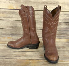 Vintage Cowboy Boots Brown Leather Mens Size 8 D Country Western Rockabilly